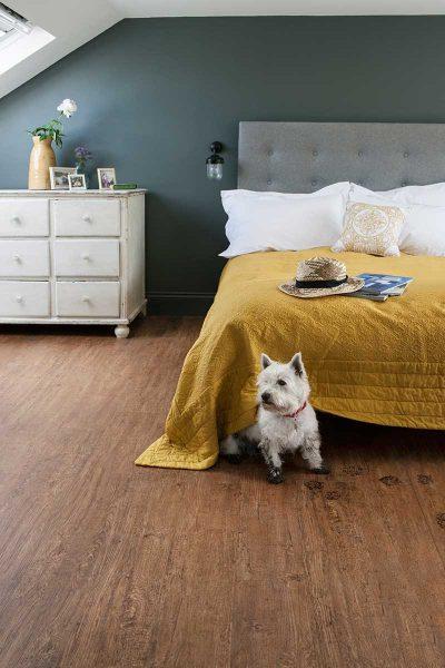 Luxury vinyl tiles on a bedroom floor